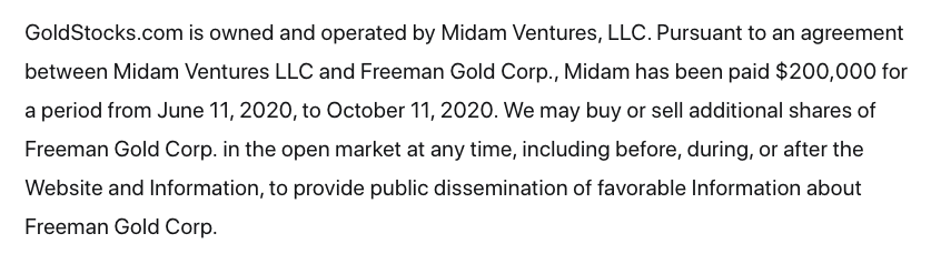 Freeman Gold Stock FMAN disclaimer