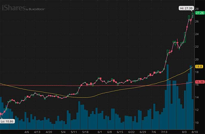 mining stocks to watch iShares Silver Trust (SLV chart)